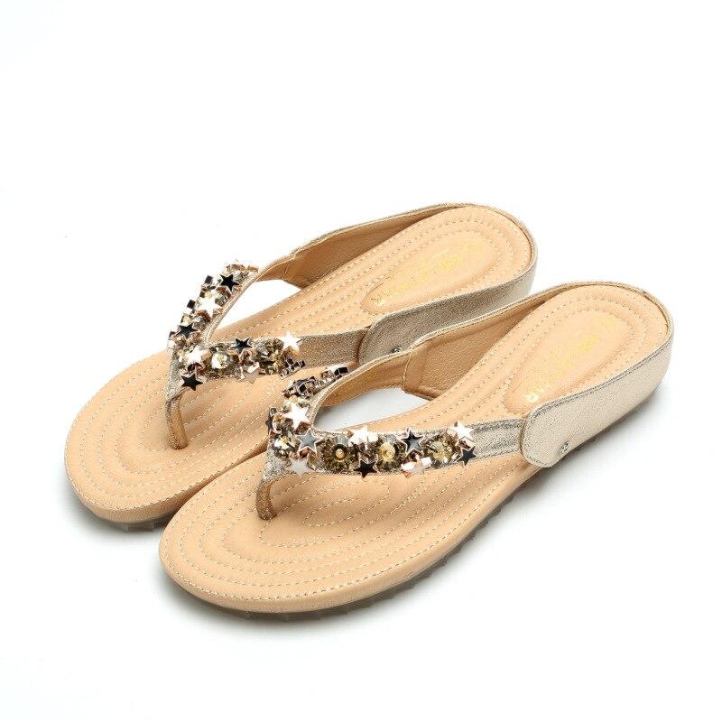 Women Flip Flops Beach Slippers Bling Sandals Summer Flat Shoes Slip On Women Slides Fashion Platform Shoes Plus Size 35 43 in Flip Flops from Shoes