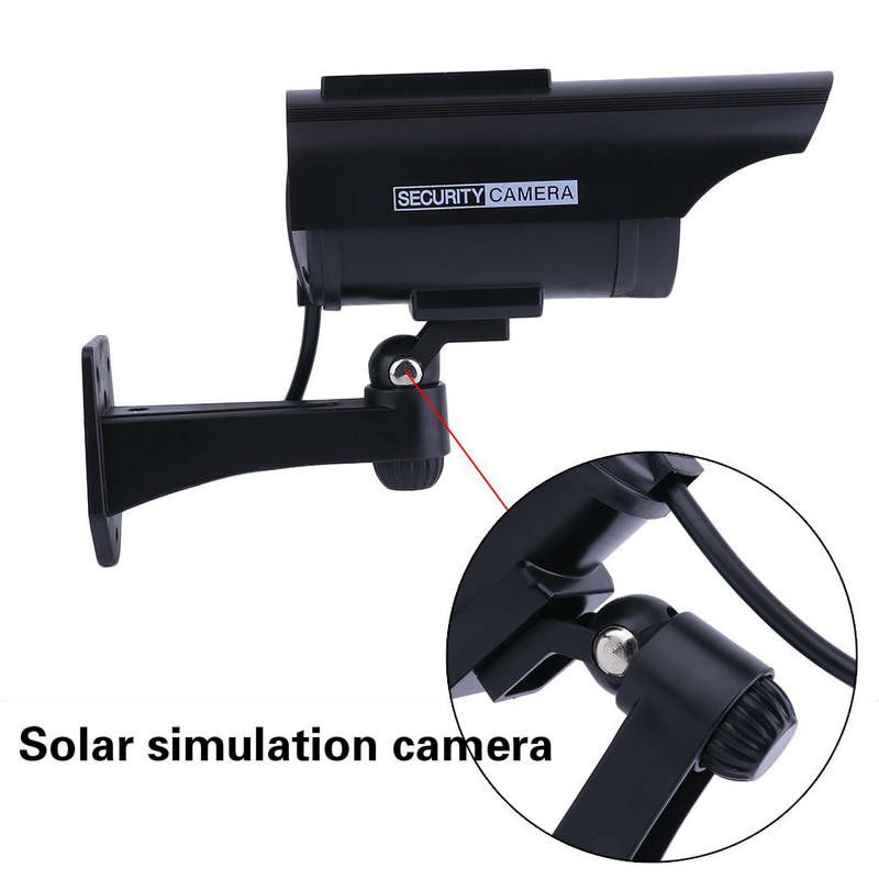 Fake Imitation Home CCTV Security Camera Adjustable Waterproof Outdoor Indoor Solar Power Surveillance Camera with Blinking LED image