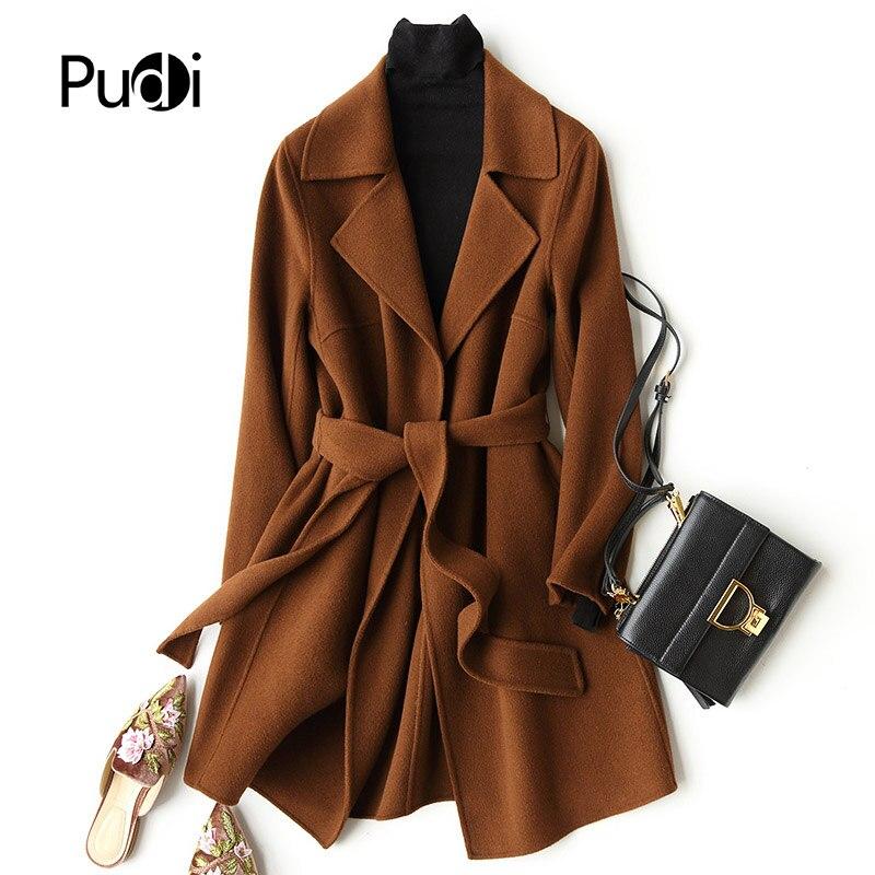 PUDI A37033 الحقيقي الصوف البوليستر معطف سترة معطف المرأة الشتاء معطف دافئ 2018 خريف شتاء معطف-في فراء حقيقي من ملابس نسائية على  مجموعة 1