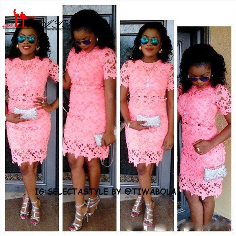 Short Aso Ebi Prom Dresses Knee Length Short Sleeve Pink