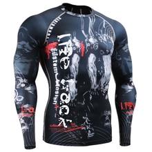 Мужская мма сжатия рубашки rashguard фитнес длинными рукавами 3d печать бегунов базовый слой skin tight топы вес эластичность