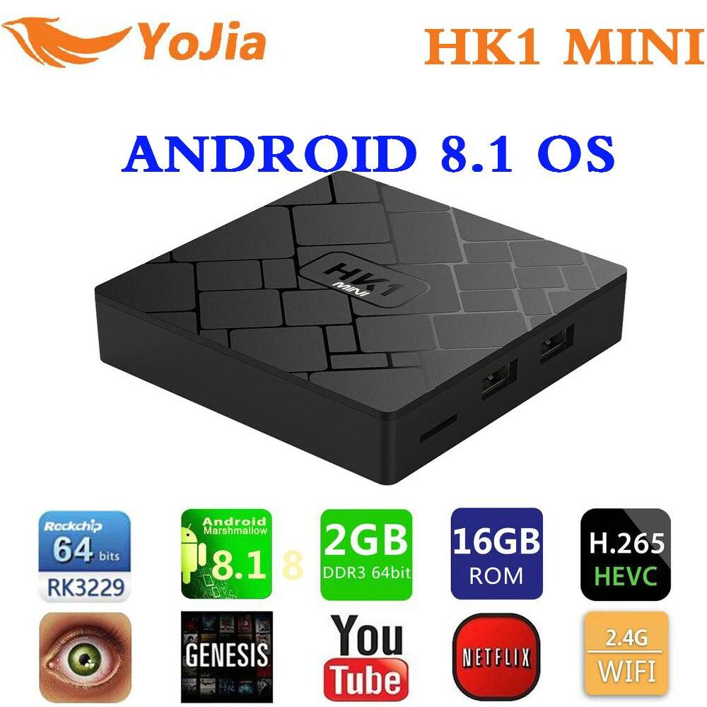 Yojia Smart TV BOX Android 8.1 HK1 MINI Rockchip RK3229 Quad core 2GB 16G H.265 2.4G Wifi 4K HD TV Sep Top Box Media Player android smart tv box rockchip rk3229 quad core 2g 16g 4k streaming media player wifi dolamee d5 smart mini pc hebrew remote game