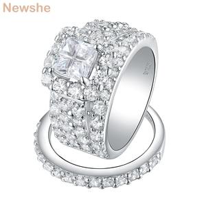 Image 2 - Newshe Halo alyanslar kadınlar için 4 karat çapraz kesim AAA zirkonya klasik takı 925 ayar gümüş nişan yüzüğü seti