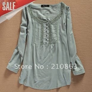 Top women shirts fashion summer ladies long sleeve lace design ...