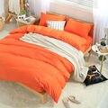 Moda Sólido juego de cama de Algodón para cama individual/doble, (sábana Plana/cubierta de Colchón cubierta + Edredón + funda de almohada) 3 unid/4 unid/5 unid conjuntos