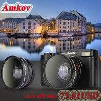AMKOV CDR2 Digitale Camera professionele 'S HD Camcorders DSLR Camera Groothoek Telelens Camara Digitale