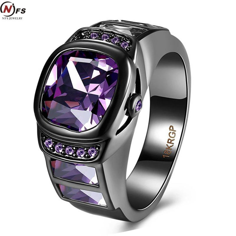 nfs imitation watch rings black gold filled wedding ring green purple huge zircon cabochon setting ring jewelry - Huge Wedding Rings