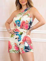2020 Summer Women Elegant Leisure Playsuit Female Stylish Sleeveless Cutout Jumpsuit One Shoulder Floral Print Casual Romper
