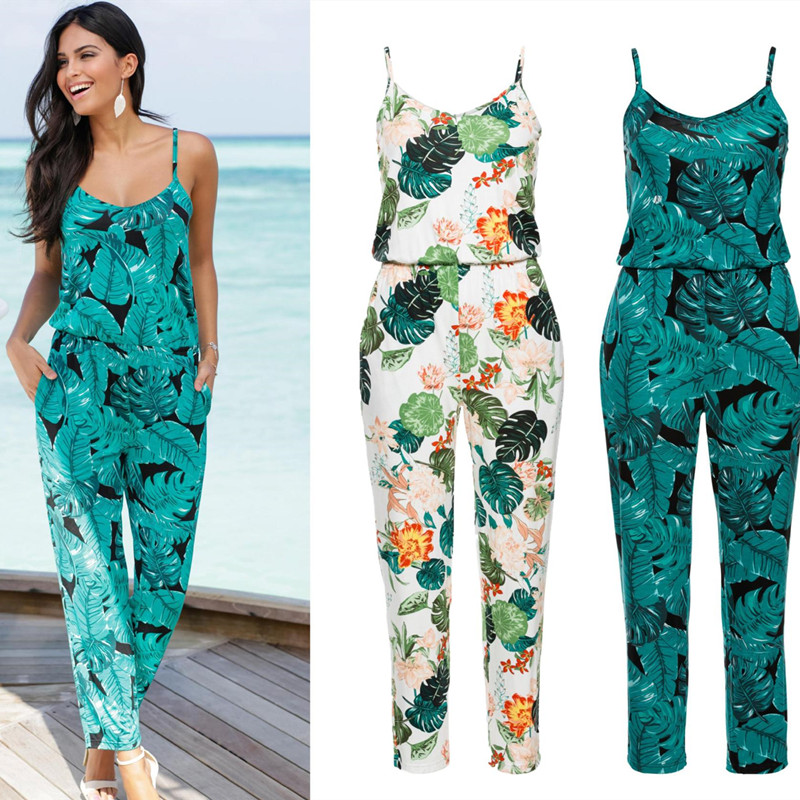 2020 Spaghetti Strap Beach Boho Leaves Floral Print Romper Women Summer Beach Jumpsuit Strappy V Neck Pocket Tunic Plauysuit New