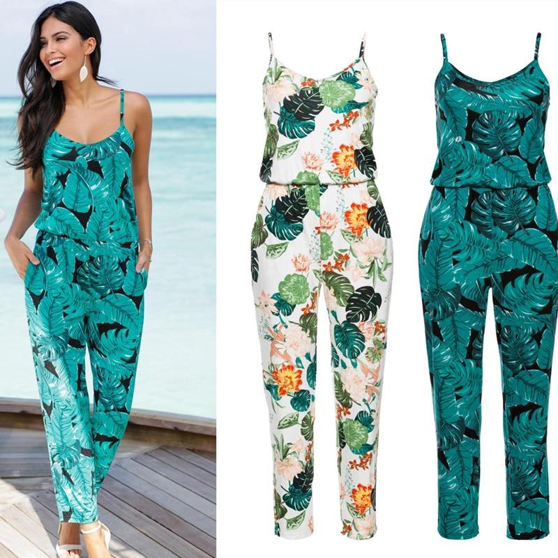 2020 Spaghetti Strap Beach Boho Leaves Floral Print Romper Women Summer Beach Jumpsuit Strappy V Neck Pocket Tunic Plauysuit New