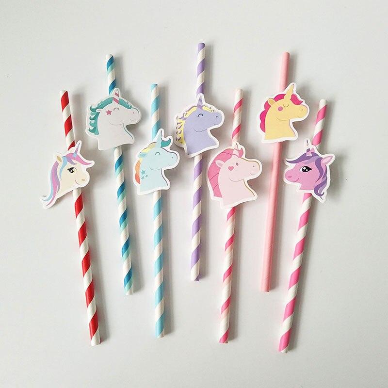 10Pcs/Lot Seven Unicorn Disposable Paper Straws Striped Cartoon Birthday Decoration Theme Festival Drinking Straws Xmas
