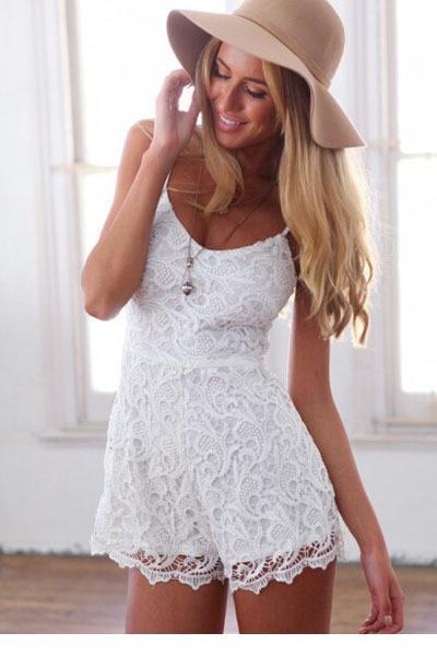 2017 Ocasional das Mulheres Curto Novo 2017 Spaghetti Tiras de Renda Branca Romper LC6965 Jumpsuits & Rompers macacão feminino Bodysuit