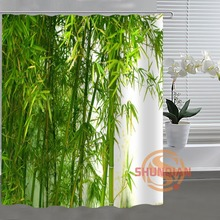 green bamboo Custom Shower Curtain Bathroom Fabric For Bathroom Decor Bathroom Curtain Acceptable Custom H03y26q38