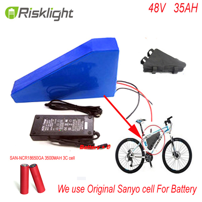 New arriver triangle ebike battery 48V 2000w lithium battery pack 48v 35ah electric bike battery +bag+charger For Sanyo CELL free customes taxes 48v 2000w electric bike battery 48v 35ah lithium ion battery pack for electric bike with charger bms