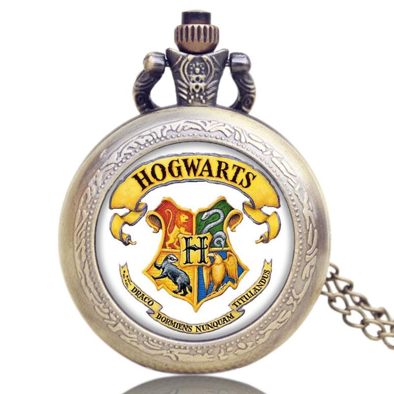 Hot Sale Creative Pocket Watch Popular Movie Extension Hogwarts School Symbol Design With Bronze Necklace Relogio De Bolso