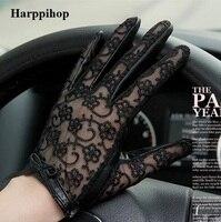 2016 Hot Sale Medival Women Lace Genuine Leather Gloves Unlined Nappa Lambskin Wrist Sunscreen Glove Free