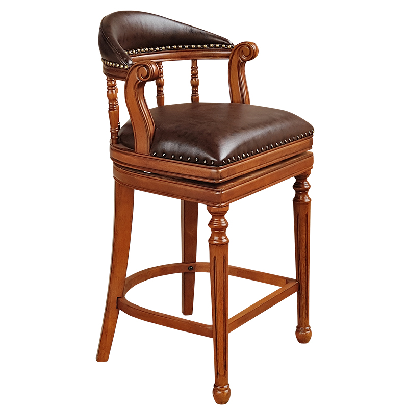 American Style Solid Wood High Bar Chair European Style Bar Stool Leather Wood Swivel High Bar Stool