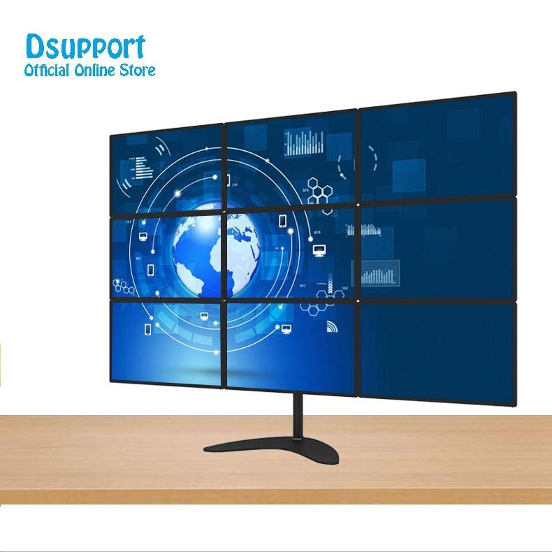 15-24 Aluminum Alloy 9 Screen LCD TV Mount Free Lifting Sliding Full Motion 9 Monitor Holder Desktop Stand