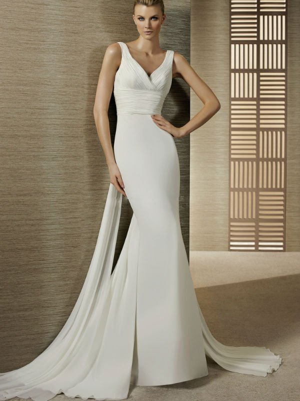 Simple V neck Ruched Waist Slim A line Chiffon Wedding Gowns-in ...