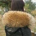 Envío gratuito Super deluxe mapache de lana chaqueta abajo casquillo un mapache cuello del abrigo fox cuello de piel mujer bufandas de cuello de piel