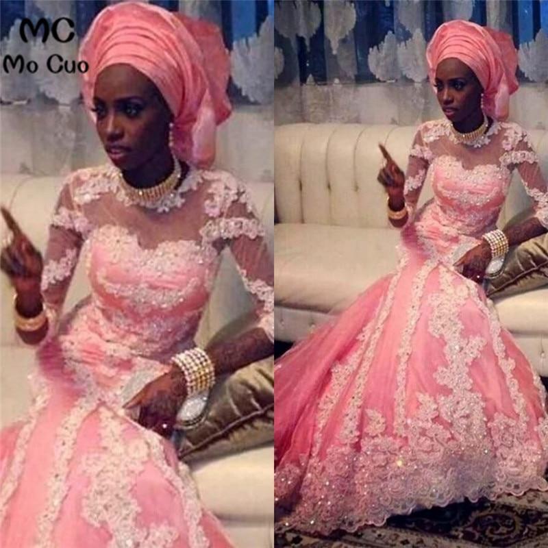 Generous Arabic 2018 Mermaid O Neck Long Sleeve Pink Dubai Kaftan Muslim Beads Appliques Lace Tulle Evening dress for women