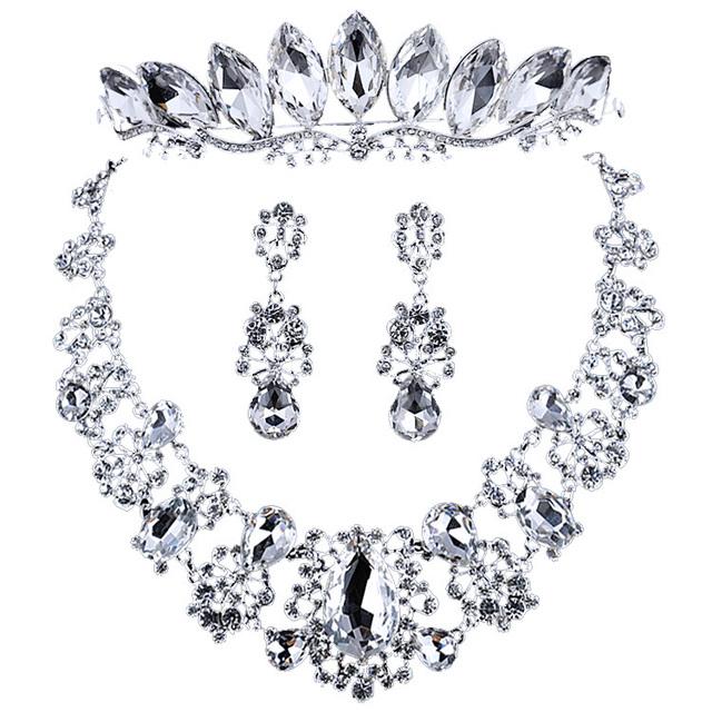 Caliente nupcial de lujo premium de cristal sistemas de la joyería nupcial accesorios de la boda de La Corona de tres piezas de accesorios nupciales