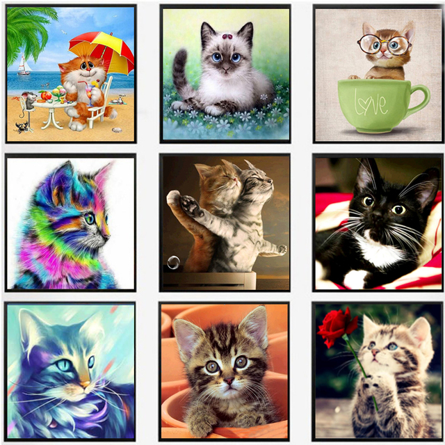 """יהלומים בעבודת יד DIY 5D יהלומי פסיפס חתולים מצוירים דפוסי רקמת ערכות תפר צלב ציור יהלומי Rhinestones 30*30 ס""""מ"""