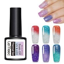 LEMOOC Nail Gel Polish 8ml Thermal Color Changing Rainbow  Series Soak Off UV Varnish Manicure Art Lacquer