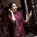 Free Shipping New Sale Lace Qipao Chinese Women's Clothing Cheong-sam Dress 3/4 Sleeve Qipao For Woman Purple Dress