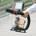 U-grip triple shoe mount video acción stazbilizer grip handle rig para canon sony dslr cámara, para iphone 7 huawei smartphone