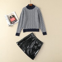 New Spring Autumn Skirt Suits Casual Women Letter Print Knitted Pullover High Quality PU Leather Skirt