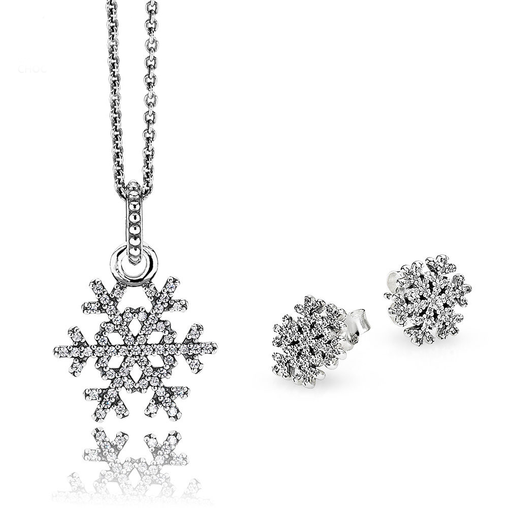 NEW 100% 925 Sterling Silver 1:1 Genuine Shiny Snowflake Earrings Pendant Necklace Charm Jewelry Set Original Women JewelryNEW 100% 925 Sterling Silver 1:1 Genuine Shiny Snowflake Earrings Pendant Necklace Charm Jewelry Set Original Women Jewelry