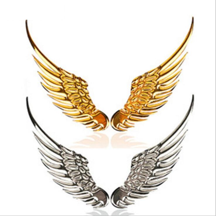 3D safe guard angel wing creative slivery golden metal car sticker auto parts automobile accessory Wholesale