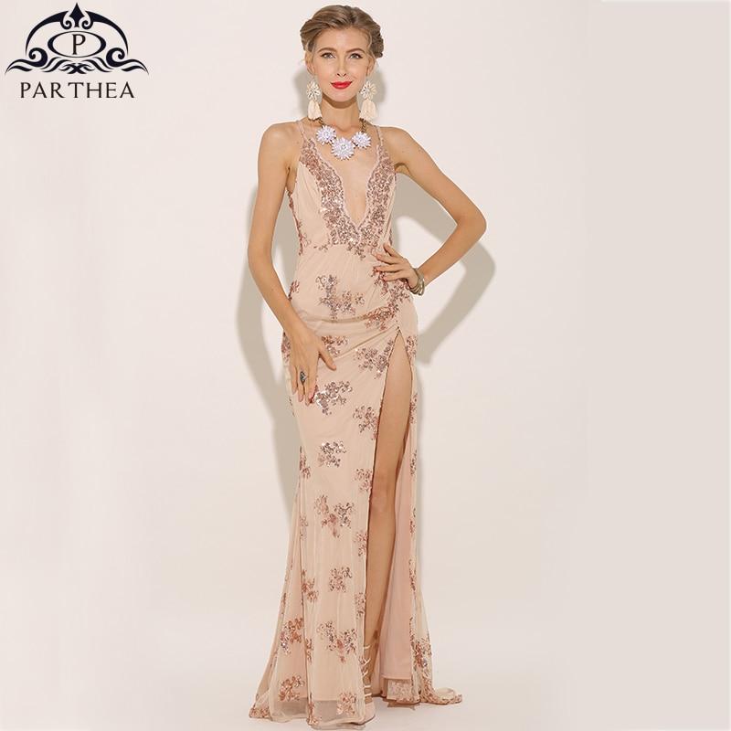 fa43b3258e605 Parthea Plunge V-neck Women Sexy Maxi Dress High Split Sequin Party Dress  Bling Metallic Sheer Mesh Long Dress Gold Vestidos New