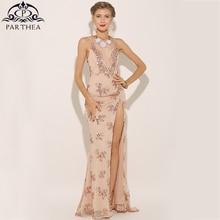 Parthea Plunge V-neck Women Sexy Maxi Dress High Split Sequin Party Dress  Bling ab35830a7584