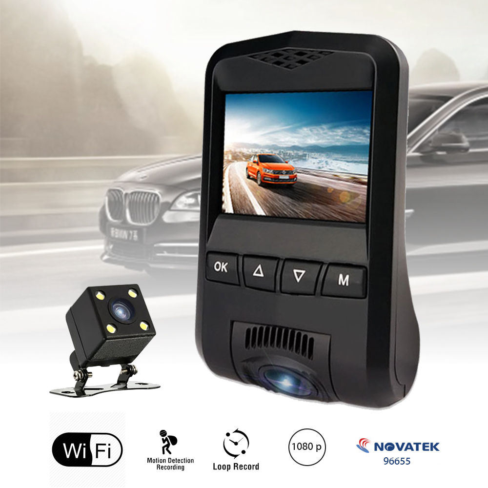 N360 Wifi HD 1080P Dual Lens Car Dash Camera DVR Vehicle Video Recorder Cam Novatek Motion Detect WDR 170 Degree Wide Angle 1080p 360° panorama wifi car dash camera 230° wide angle night vision wdr
