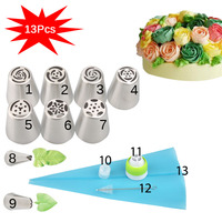 13PCS/Set Russian Tulip Icing Piping Nozzles Pastry Bag Cake Decorating Tips 3D Printer Nozzles For Cream Baking Tools