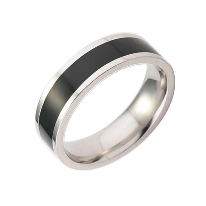 أبدا تتلاشى الفولاذ المقاوم للصدأ خواتم أبيض وأسود بسيط التيتانيوم الصلب زوجين خاتم كوريا الجنوبية موضة الزواج خاتم الخطوبة