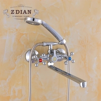 Russia free shipping Double Handle Bathroom Shower Faucets Plated Single Holder Long Nose Brass Bathroom Faucet Bath Mixer Tap