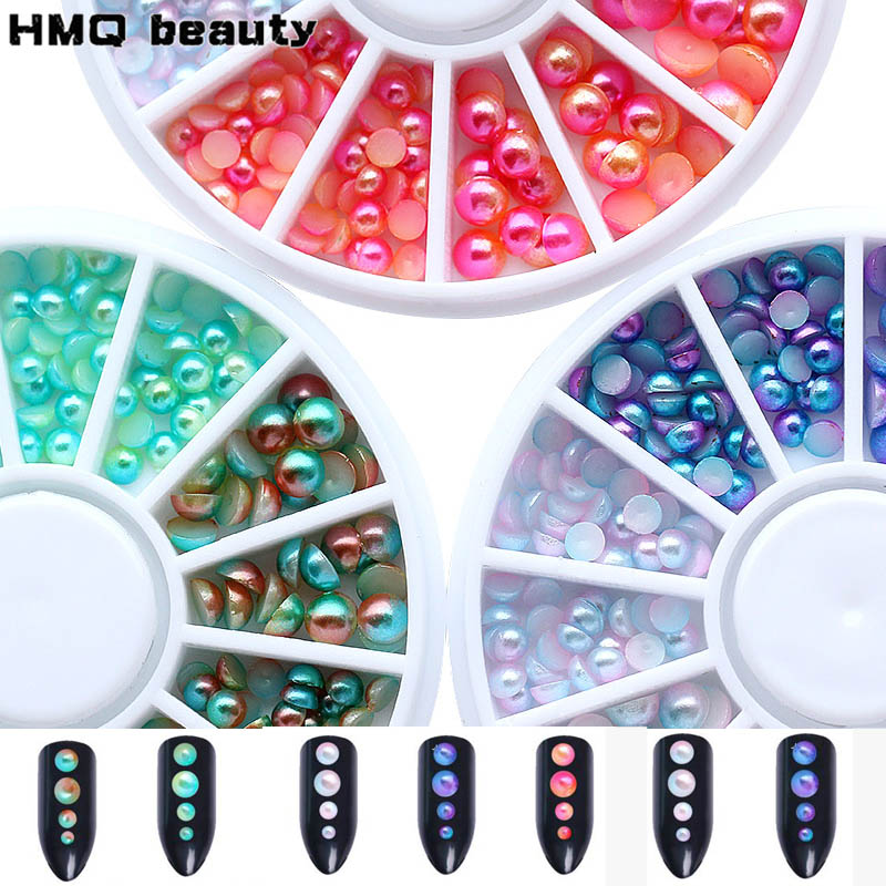 Mixed Size Multi color half round Pearl Rhinstones Nail art Beads 3D acrylic nail Decorations Wheel Manicure Tip Accessories 3d half round beads stud nail art decoration tip wheel