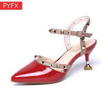 Summer 2019 Womens Fashion Riveted Sandals With Fine heeled  OL Commuter White collar work High-heeled Banquet sexy red Shoes