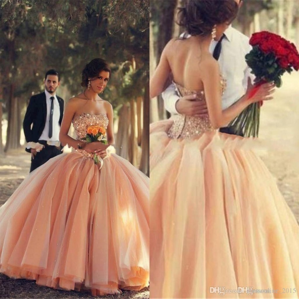 Online get cheap wedding dresses colored aliexpress alibaba victorian peach colored wedding dresses with bling crystals beaded special unique ball gowns arabic bridal engagement ombrellifo Gallery