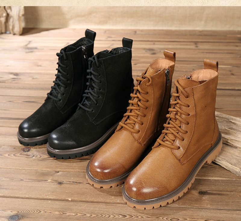18 autumn new Martin boots female Leather side tube zipper rubbing and recreational retro boots цена 2017