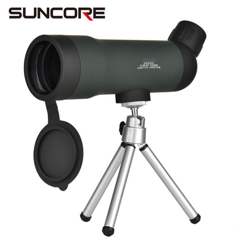 SUNCORE-20X50 High-power Monocular Night Vision Telescope with Tripod Outdoor Travel Green Film Optical Scope suncore water resistant 12 x 25mm monocular telescope