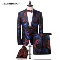 TIAN QIONG Men Suit Latest Coat Pant Designs Men Wedding Suits 2017 Fish Print Mens Suits Blazer and Pants Prom Stage Wear Men