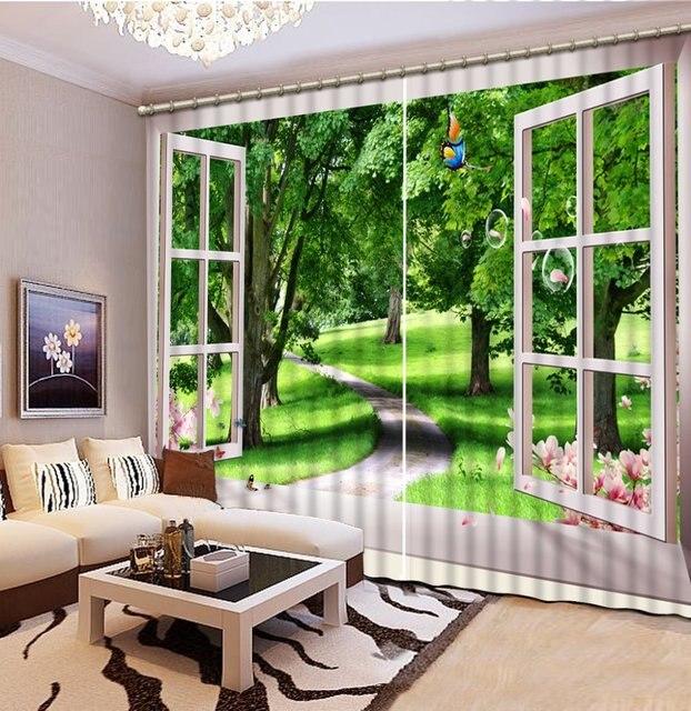 custom 3d stereoscopische gordijnen buiten het raam vlinders bomen gordijnen voor woonkamer luxe gordijnen slaapkamer