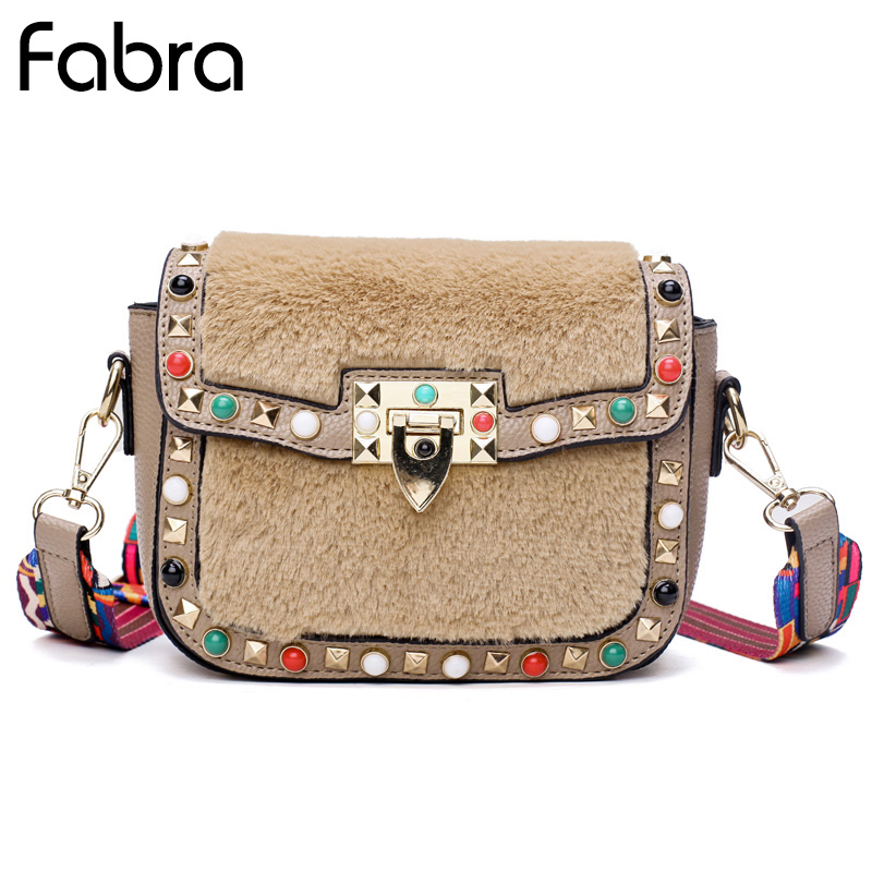 Fabra Fashion Mini Women Messenger Bags Rivet Small Shoulder Bag PU Leather Colorful Strap Crossbody Bags Handbag Sac A Main