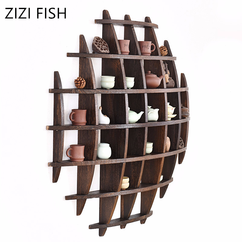 Wooden Crafts Display Holder Shelves Teapot Tea Set Wood Carving Display Stand Decoration Home Tea Accessories