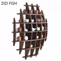 Wooden Crafts Display Holder Shelves Teapot Tea Set Wood Carving Display Stand Decoration Home Tea Accessories Shelves for Wall