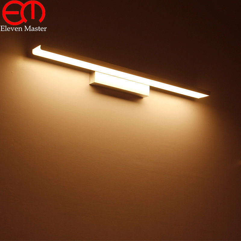 Black/Sliver/Gold Mordern minimalist mirror cabinet lamp LED high bright bathroom mirror light bedroom mirror wall lamp WML035 modern minimalist waterproof antifog aluminum acryl long led mirror light for bathroom cabinet aisle wall lamp 35 48 61cm 1134